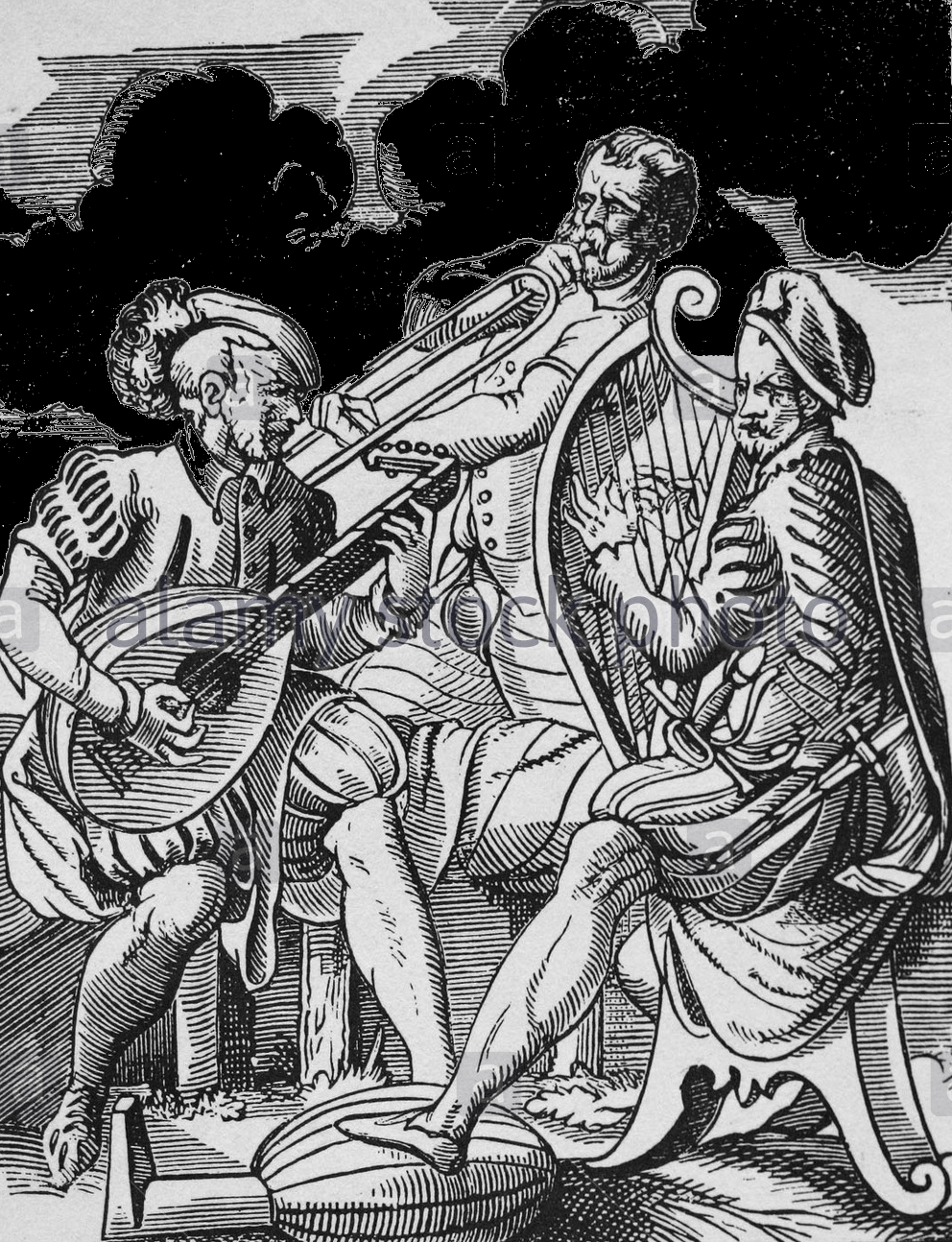 Lithograph of men playing a lute and a lyre